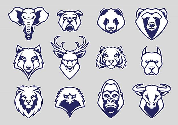 Conjunto de mascotes de cabeça de animais