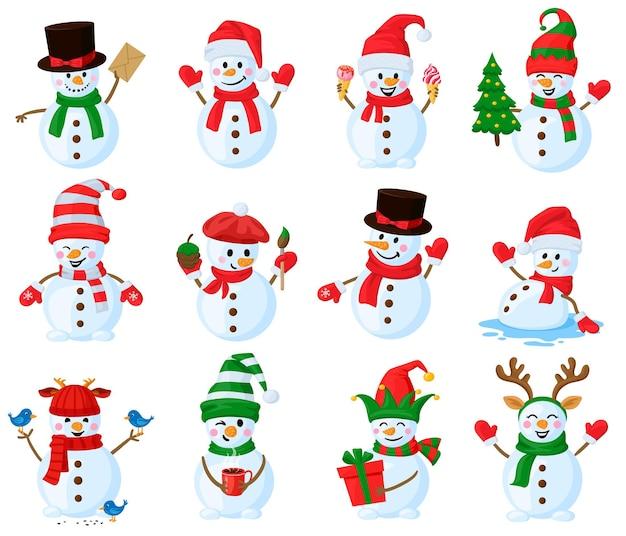 Conjunto de mascotes de vetores de personagens de boneco de neve de natal fofos