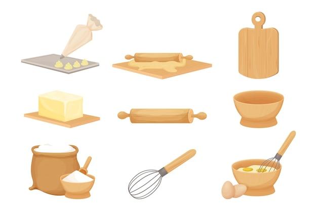 Conjunto de massa assada com ingredientes de utensílios de madeira de cozinha