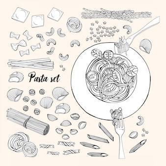 Conjunto de massas de diferentes tipos. espaguete de coleção desenhada de mão, macarrão, fusilli, farfalle, ravióli, tortiglioni, penne. ilustração a preto e branco.
