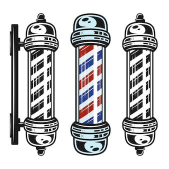 Conjunto de mastro de barbearia com três objetos de estilo em estilo vintage monocromático