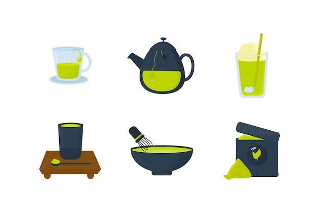 Conjunto de matcha chá em pó e líquido