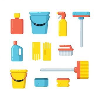 Conjunto de materiais de limpeza