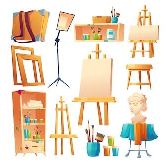 Conjunto de materiais de sala de aula de arte em estúdio