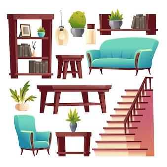 Conjunto de materiais internos de corredor de casa rústica
