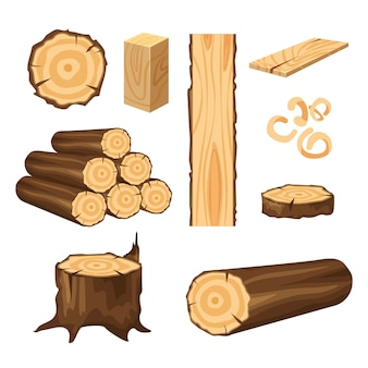 Conjunto de materiais para a indústria da madeira. tronco de árvore, pranchas isoladas no branco. toras de madeira para silvicultura.