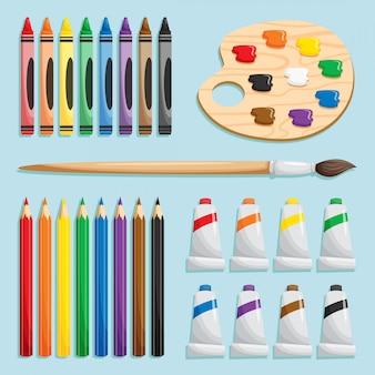 Conjunto de materiais para colorir