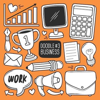 Conjunto de material de escritório doodle