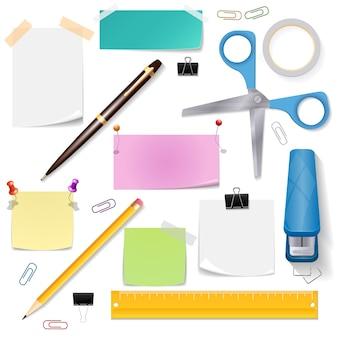 Conjunto de material de escritório. papel de tesoura e ferramenta de papelaria, lápis e caneta
