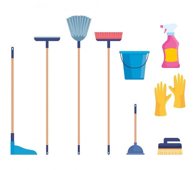 Conjunto de material de limpeza isolado