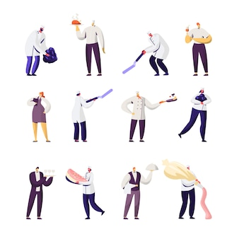 Conjunto de material de restaurante. personagens masculinos e femininos em uniforme.