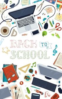Conjunto de material escolar e gadgets