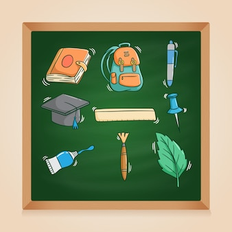 Conjunto de material escolar fofo com estilo doodle colorido