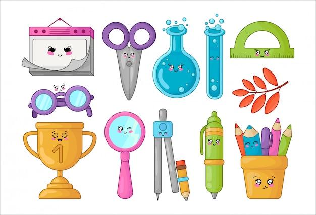 Conjunto de material escolar kawaii, volta ao conceito de escola, personagens de desenhos animados bonitos