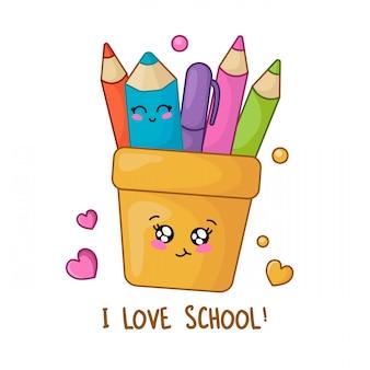 Conjunto de material escolar kawaii, volta ao conceito de escola,