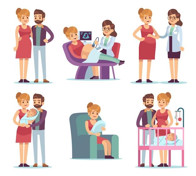 Conjunto de maternidade de gravidez. mulher grávida visita médico exame médico ginástica bebê recém-nascido caracteres familiares felizes