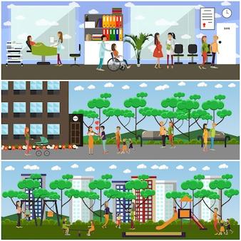 Conjunto de maternidade hospital e jardim de infância plana cartazes, banners
