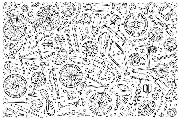 Conjunto de mecânico de bicicleta desenhada de mão doodle