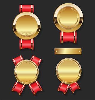 Conjunto de medalha de ouro com fitas vermelhas