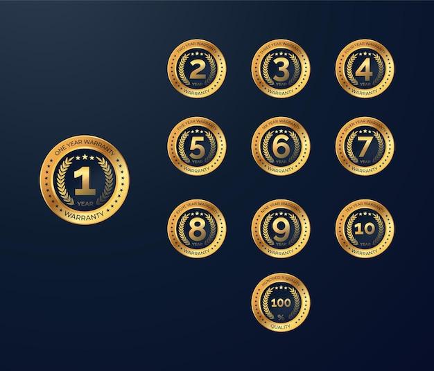 Conjunto de medalha de ouro de garantia e etiquetas de distintivos