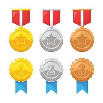 Conjunto de medalha de ouro, prata e bronze com estrela para o primeiro lugar. troféu, prêmio para o vencedor isolado no fundo. distintivo dourado com fita. realização, conceito de vitória. design plano cartoon