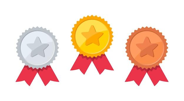 Conjunto de medalha de ouro, prata e bronze com estrela.
