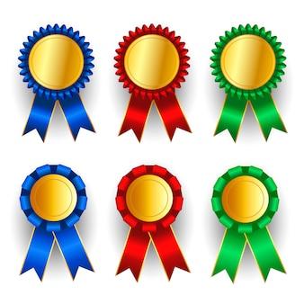 Conjunto de medalha de ouro, prata e bronze.