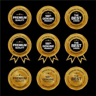 Conjunto de medalha de venda dourada premium realista. coleção de etiquetas douradas