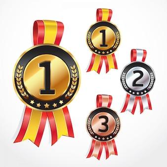 Conjunto de medalhas com fita. ilustração do vetor