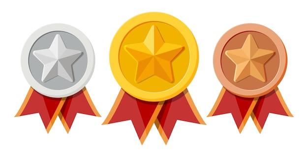 Conjunto de medalhas com fitas vermelhas e formas de estrelas. campeão de ouro, prata e bronze. medalhão dos vencedores.