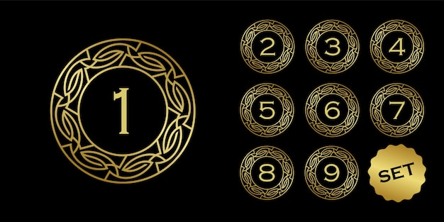 Conjunto de medalhas com número dentro