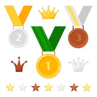 Conjunto de medalhas, coroas e estrelas