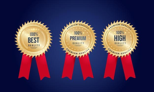 Conjunto de medalhas da melhor qualidade, qualidade premium e alta qualidade