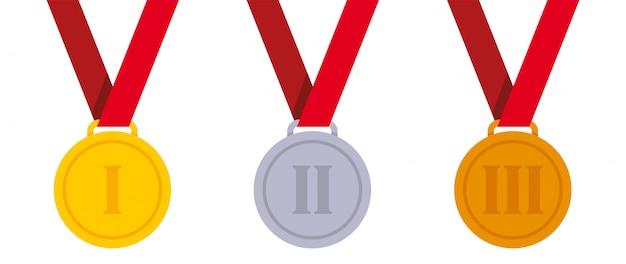 Conjunto de medalhas de metal
