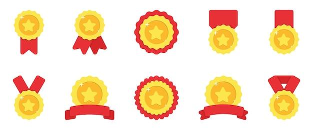 Conjunto de medalhas de ouro com fita vermelha e ilustração de estrelas