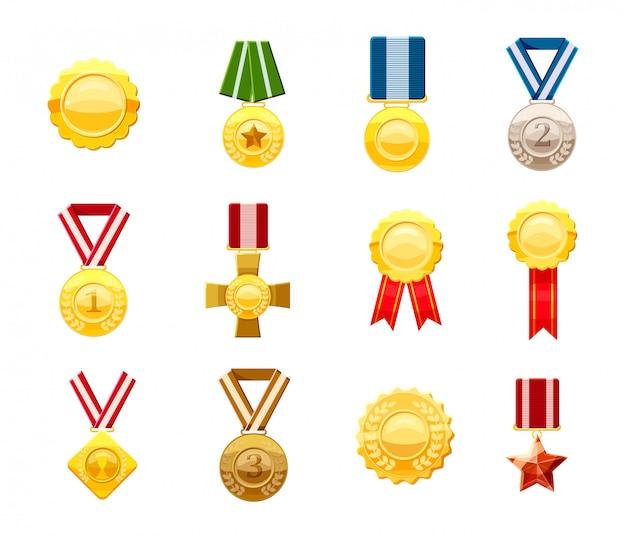 Conjunto de medalhas de ouro. conjunto de desenhos animados de medalha de ouro