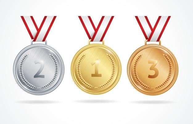 Conjunto de medalhas de ouro e bronze para os vencedores