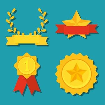 Conjunto de medalhas de ouro e fitas