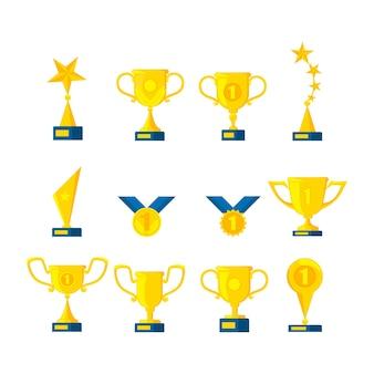 Conjunto de medalhas de ouro e taças de troféu. emblemas de metal com fitas azuis. ilustração