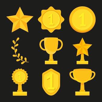Conjunto de medalhas de ouro e troféus