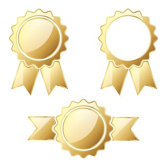Conjunto de medalhas de ouro isoladas em branco
