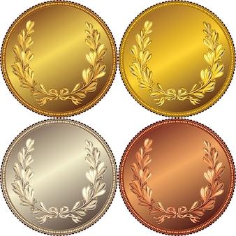 Conjunto de medalhas de ouro, prata e bronze com a imagem de uma coroa de louros