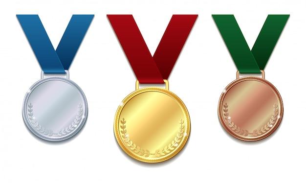 Conjunto de medalhas de ouro, prata e bronze em fita vermelha com coroa de louros