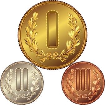 Conjunto de medalhas de ouro, prata e bronze pelo primeiro, segundo e terceiro lugar