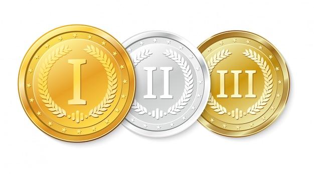 Conjunto de medalhas de ouro, prata e bronze. prêmios pelo primeiro, segundo e terceiro lugar.