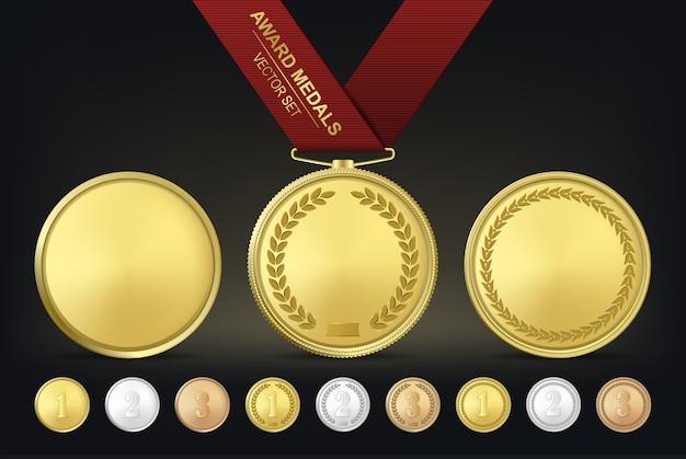 Conjunto de medalhas de ouro, prata e bronze.