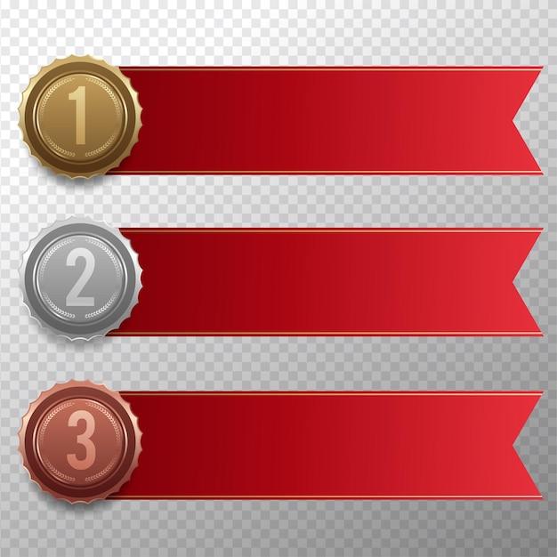 Conjunto de medalhas de ouro, prata e bronze
