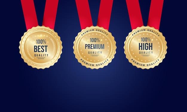 Conjunto de medalhas de premiação da melhor qualidade, qualidade premium e alta qualidade