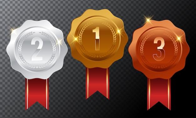 Conjunto de medalhas de prêmio de ouro, prata e bronze