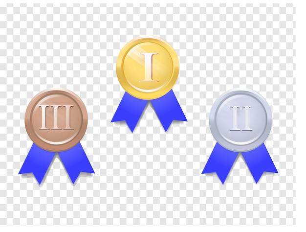 Conjunto de medalhas de vetor